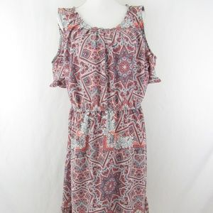 Cold Shoulder Ruffle Floral Keyhole Midi Dress